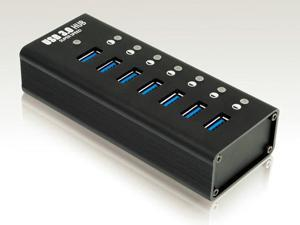 "Rocketek 7 port USB 3.0 Hub with 12V / 3A Power Adapter, under 4.5"" in length Super compact and a real space saver 7 port ..."