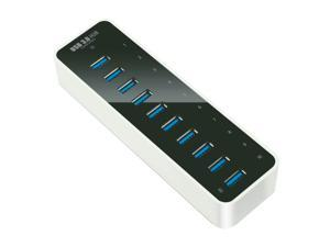 Rocketek 10 Port USB 3.0 Hub With 12V / 4A Power Adapter and 3ft USB 3.0 Cable, add 10 usb 3 ports to your device easily. ...
