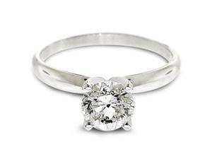 1/4 Ctw Solitaire Diamond Engagement Ring GH/SI1-SI2 14K White Gold