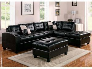 1PerfectChoice 3Pcs Kiva Espresso Bonded Leather Reversal Sectional Sofa