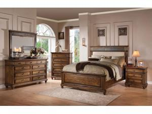 1PerfectChoice Arielle Oak Queen Panel Bed With Cream PU Headboard