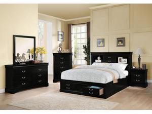 1PerfectChoice Louis Philippe Black Queen Storage Bed Bookcase Drawers