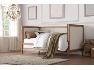 1PerfectChoice Charlton Salvage Oak Cream Linen Twin Daybed