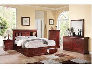 1PerfectChoice Louis Philippe Cherry Bookcase Queen Storage Bedroom Set