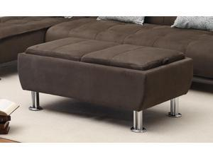 1PerfectChoice Ellwood Collection Brown Microfiber Ottoman