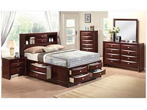 1PerfectChoice Ireland 4PCS Espresso Bookcase King Storage Bedroom Set