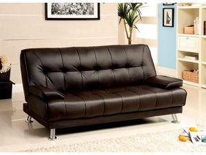 1PerfectChoice Beaumont Adjustable Sofa Bed Futon Sleeper Plush Dark Brown Leatherette Metal