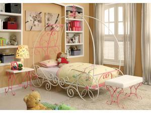 1PerfectChoice Enchant Princess 3D Carriage Princess Sturdy Metal Twin Pink White Bed