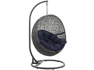 1PerfectChoice Hide Rattan Weave Steel Frame Outdoor Patio Swing Chair In Gray Navy
