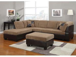 1PerfectChoice Connell Light Brown Sectional Sofa Set Left Chaise Ottoman