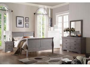 1PerfectChoice Louis Philippe 4PCS Antique Gray Queen Sleigh Bedroom Set