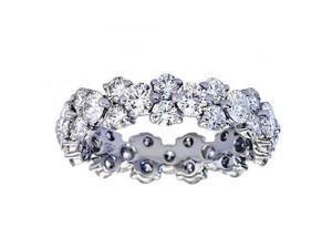 5.00 ct Ladies Round Cut Diamond Eternity Wedding Band Ring in 14 kt White Gold