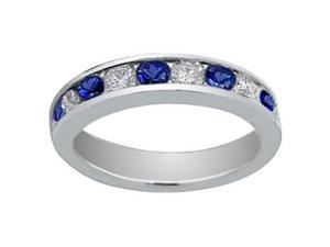 1.00 Ct Round Cut Diamond And Blue Sapphire Wedding Band Ring in 18 kt White Gold