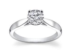 0.75 Ct Ladies Round Cut Diamond Engagement Ring  in 14 kt White Gold