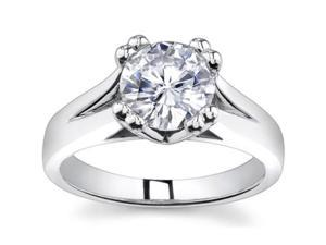 0.73 Ct Ladies Round Cut Diamond Engagement Ring  in 18 kt White Gold
