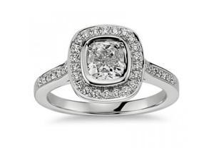 1.50 Ct Ladies Cushion Micro Pave Halo Diamond Engagement Ring  in 18 kt White Gold