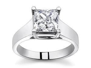 0.74 Ct Ladies Princess Cut Diamond Solitaire Engagement Ring  in 14 kt White Gold