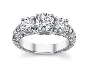 2.05 Ct Ladies Round Cut Diamond Three Stone Engagement Ring in 14 kt White Gold