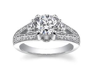 1.49 ct Vintage Style Round Cut Diamond Engagement Ring in 18 kt White Gold