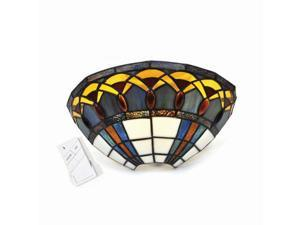 Stained Glass Half Moon Sconce with Jewels - indoor only