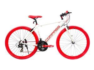 "Alton Compass Hybrid Bike 700C X 18"" 21-Speed Alloy 18"" Frame Road Bike - White & Red"