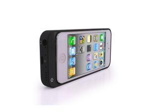 iPhone 5 5S 5C External Rechargeable 2200mAh Battery Hard Shell Case With Kickstand (Black)