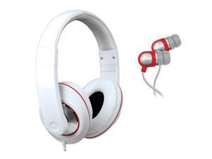 2 In 1 Sound Kit - DJ Headphones with In-Line Volume Control & Earbu - White