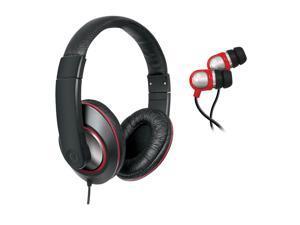 2 In 1 Sound Kit - DJ Headphones with In-Line Volume Control & Earbu - Black