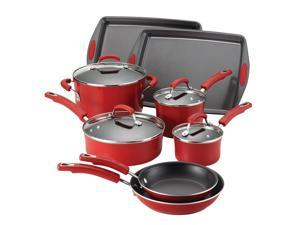 Rachael Ray Porcelain II Nonstick 12-Piece Set - Red Gradient