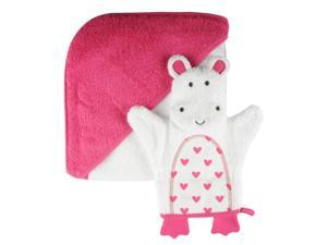 Giggle Girls Pink Hooded Towel and Wash Mitt Set