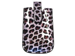 Kit Me Out USA PU Leather Slide-in Pouch for HTC Rhyme - Light Purple Leopard
