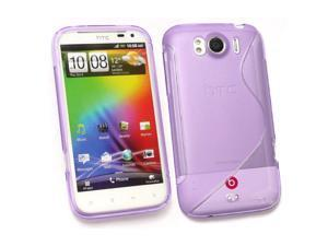 Kit Me Out USA TPU Gel Case for HTC Sensation XL - Purple S Wave Pattern