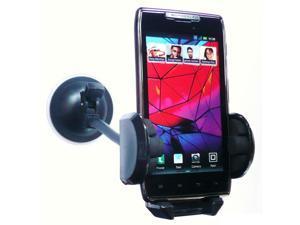 "Kit Me Out USA 7"" Windscreen Car Mount Suction Holder for Motorola Razr XT-910 - Black"