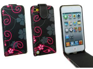 Kit Me Out USA PU Leather Flip Case for Apple iPod Touch 5 (5th Generation) - Black & Pink Flowers