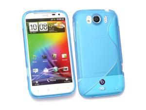 Kit Me Out USA TPU Gel Case for HTC Sensation XL - Blue S Wave Pattern