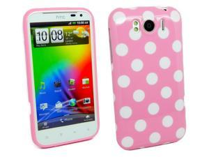 Kit Me Out USA TPU Gel Case for HTC Sensation XL - Pink, White Polka Dots