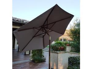 7ft Wooden Market Umbrella with Tilt Mechanism - Taupe