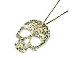 Fashion Vintage Big Skull Pendant with Chain - Carving Flower