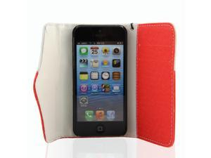 Red-White Travel Wristlet Wallet Clutch Bag Pouch Case Cover for Apple iPhone 5