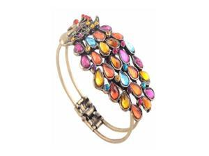 Mixed Color Vintage Style Crystal Peacock Bangle Bracelet