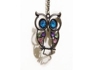 Antiqued Bronze/Brass Vintage Retro Colorful Crystal Owl Pendant Necklace