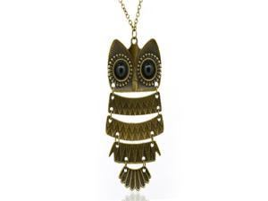 Vintage Big eyes Owl Long Bronze Pendant Chain Necklace