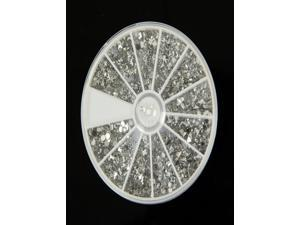 1200 Pcs 12 Shapes Silver Glitter Gems Nail Art Rhinestone Tips Wheel