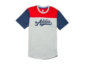 Adidas Script Block T Shirt MGH Red Blue - X-Large