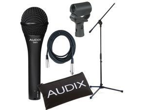 Audix OM5 Dynamic Hypercardioid Vocal Mic Bundle w/XLR Cable, Boom Stand, and Shock Mount Mic Clip