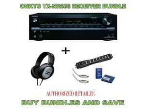 Onkyo TX-NR636 7.2-Channel  A/V Receiver, Sennheiser HD201 Headphones Plus Monster Surge Protector HDMI Bundle