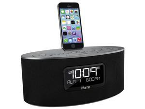 iHome iDL46 Stereo Dual Alarm Clock Radio for iPad, iPhone&  iPod, Gray
