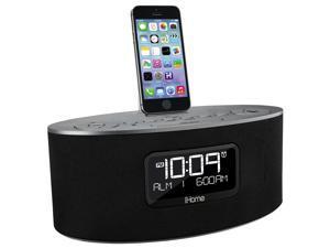 iHome iDL46 Stereo Dual Alarm Clock Radio for iPad, iPhone&  iPod, Gray