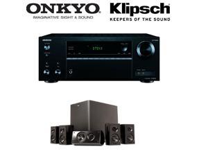 Onkyo TX-NR555 7.2-Channel Network A/V Receiver + Klipsch HD 300 Compact 5.1 High Definition Theater System (Set of Six, Black) Bundle