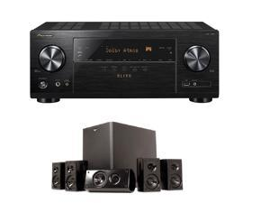 Pioneer Elite VSX-LX101 7.2 Channel Networked AV Receiver with Built-in Bluetooth and Wi-Fi + Klipsch HD 300 Compact 5.1 High Definition Theater System (Set of Six, Black) Bundle
